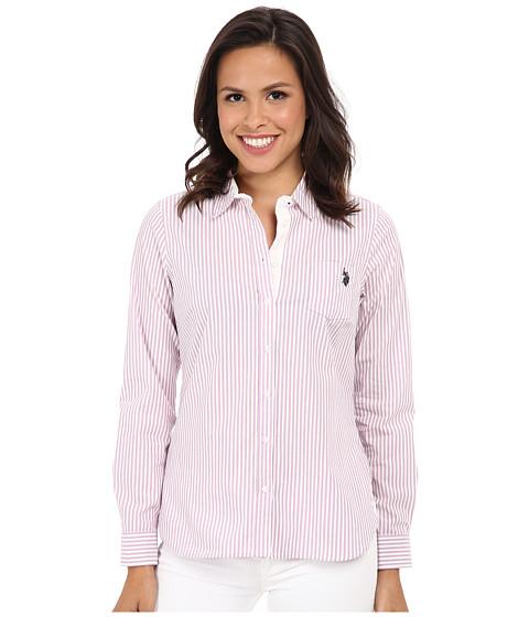 U.S. POLO ASSN. - Long Sleeve Vertical Stripe Shirt (Lavender Herb) Women's Clothing