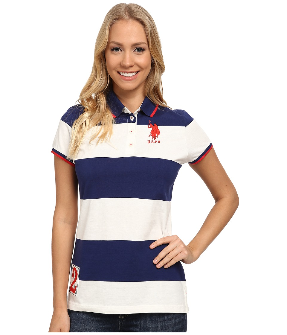 U.S. POLO ASSN. - Rugby Stripe Polo (Blueprint) Women's Clothing