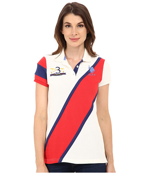 U.S. POLO ASSN. - Diagonal Striped Polo (Marshmallow) Women's Clothing