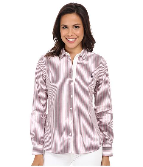 U.S. POLO ASSN. - Long Sleeve Vertical Stripe Shirt (Purple Potion) Women