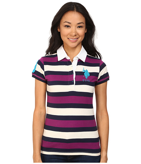 U.S. POLO ASSN. - Striped Polo White Twill Collar (Purple Toybox) Women