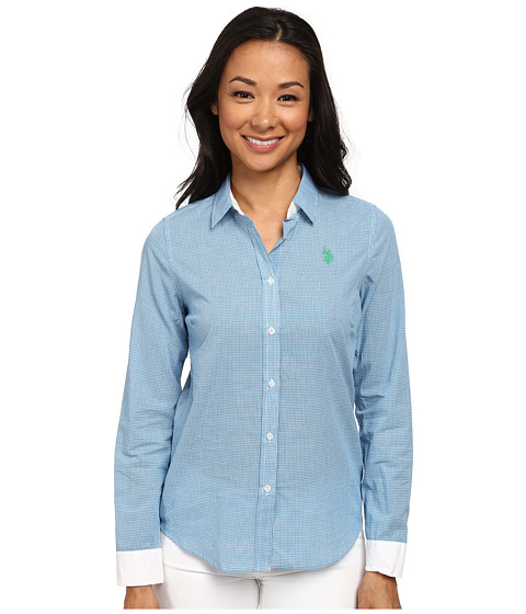 U.S. POLO ASSN. - Check Long Sleeve Woven Shirt (Modern Azure) Women