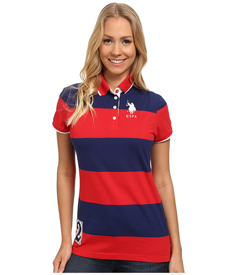 U.S. POLO ASSN. - Rugby Stripe Polo (High Risk Red) Women