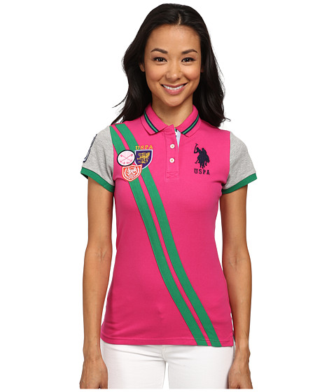 U.S. POLO ASSN. - Double Diagonal Stripe Pique Polo (Pink Peak) Women's Clothing