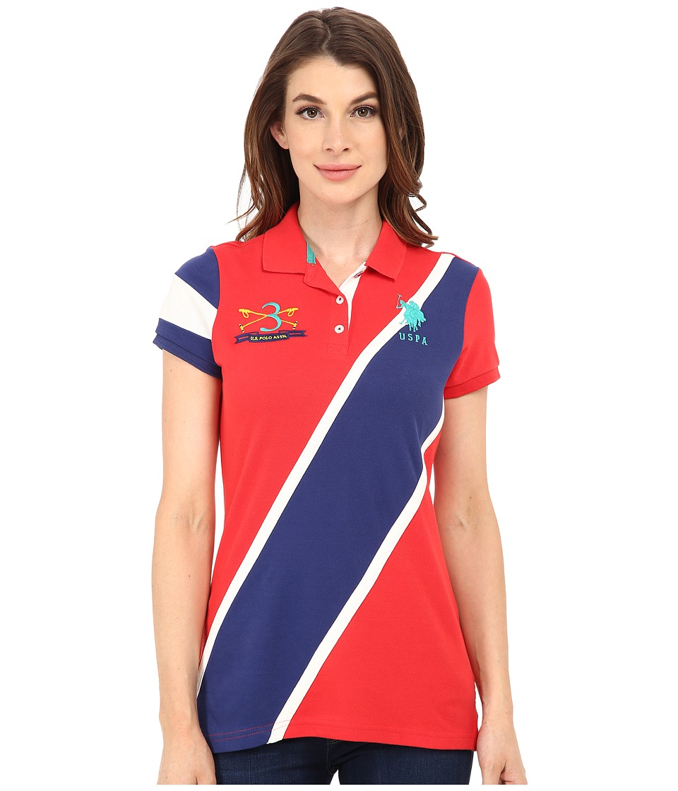 U.S. POLO ASSN. - Diagonal Striped Polo (High Risk Red) Women's Clothing
