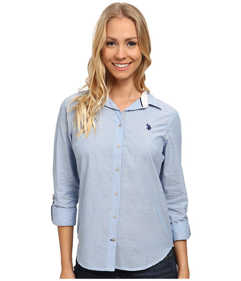 U.S. POLO ASSN. - Flecked Long Sleeve Shirt (Ultramarine Blue) Women