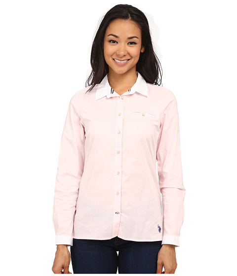 U.S. POLO ASSN. - Solid Poplin Shirt with White Collar (Classic Pink) Women