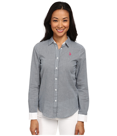 U.S. POLO ASSN. - Check Long Sleeve Woven Shirt (All Night) Women's Clothing