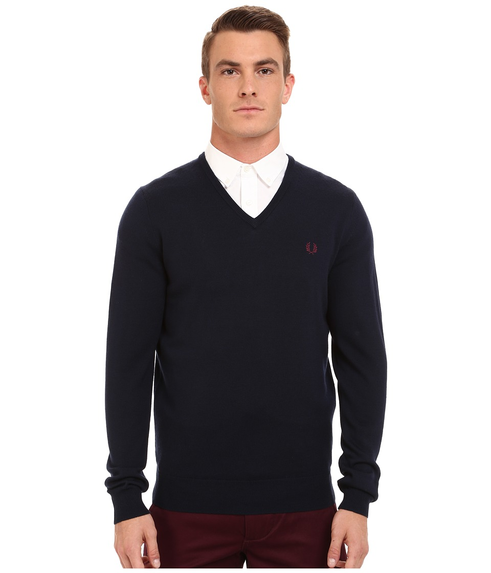 Fred Perry - Classic V-Neck Sweater (Dark Carbon) Men's Sweater