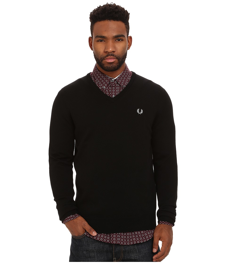fred perry classic v neck sweater black men 39 s sweater price tracking. Black Bedroom Furniture Sets. Home Design Ideas