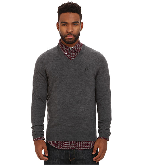 Fred Perry - Classic V-Neck Sweater (Graphite Marl) Men