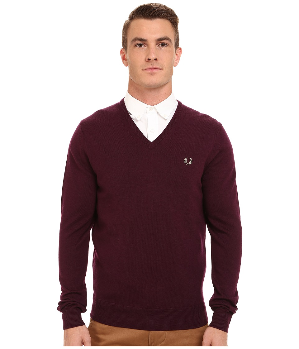 Fred Perry - Classic V-Neck Sweater (Mahogany) Men's Sweater