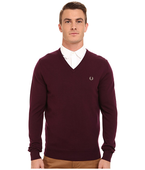 Fred Perry - Classic V-Neck Sweater (Mahogany) Men
