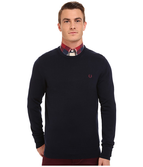 Fred Perry - Classic Crew Neck Sweater (Dark Carbon) Men