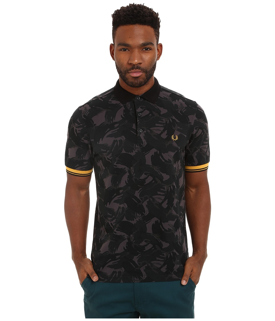 Fred Perry - Camouflage Pique Shirt (Black) Men's Short Sleeve Pullover