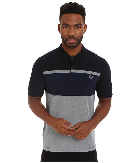 Fred Perry - Oxford Stripe Shirt (Navy) Men's Short Sleeve Pullover