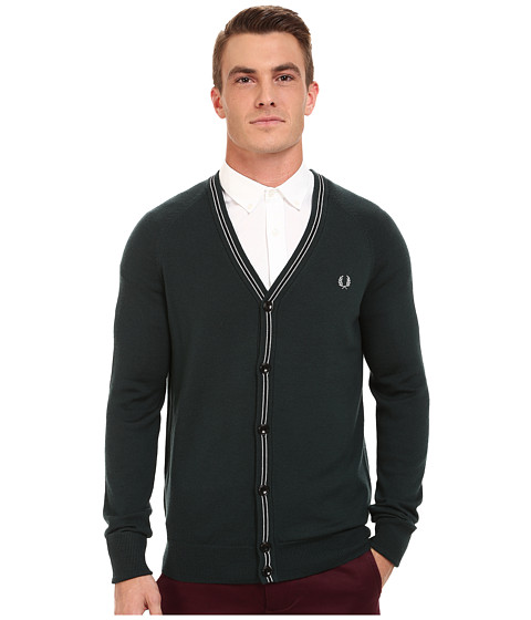 Fred Perry - School Tipped Cardigan (English Ivy) Men's Sweater