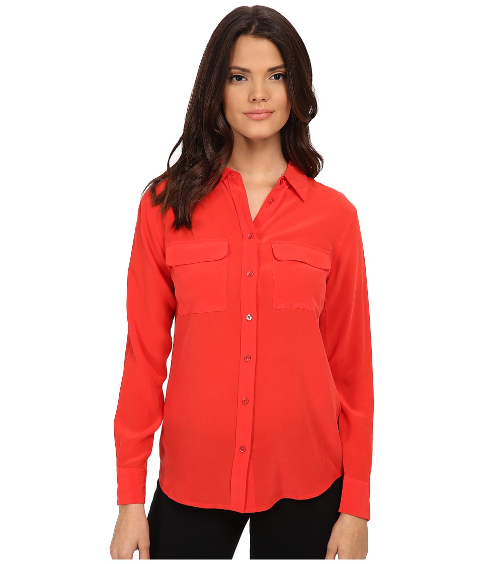 EQUIPMENT - Slim Signature Blouse (Cherry Red) Women's Blouse