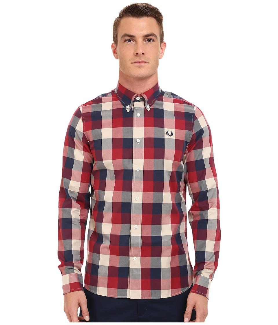 Fred Perry - Winter Twill Gingham Shirt (Rosso) Men's Long Sleeve Button Up