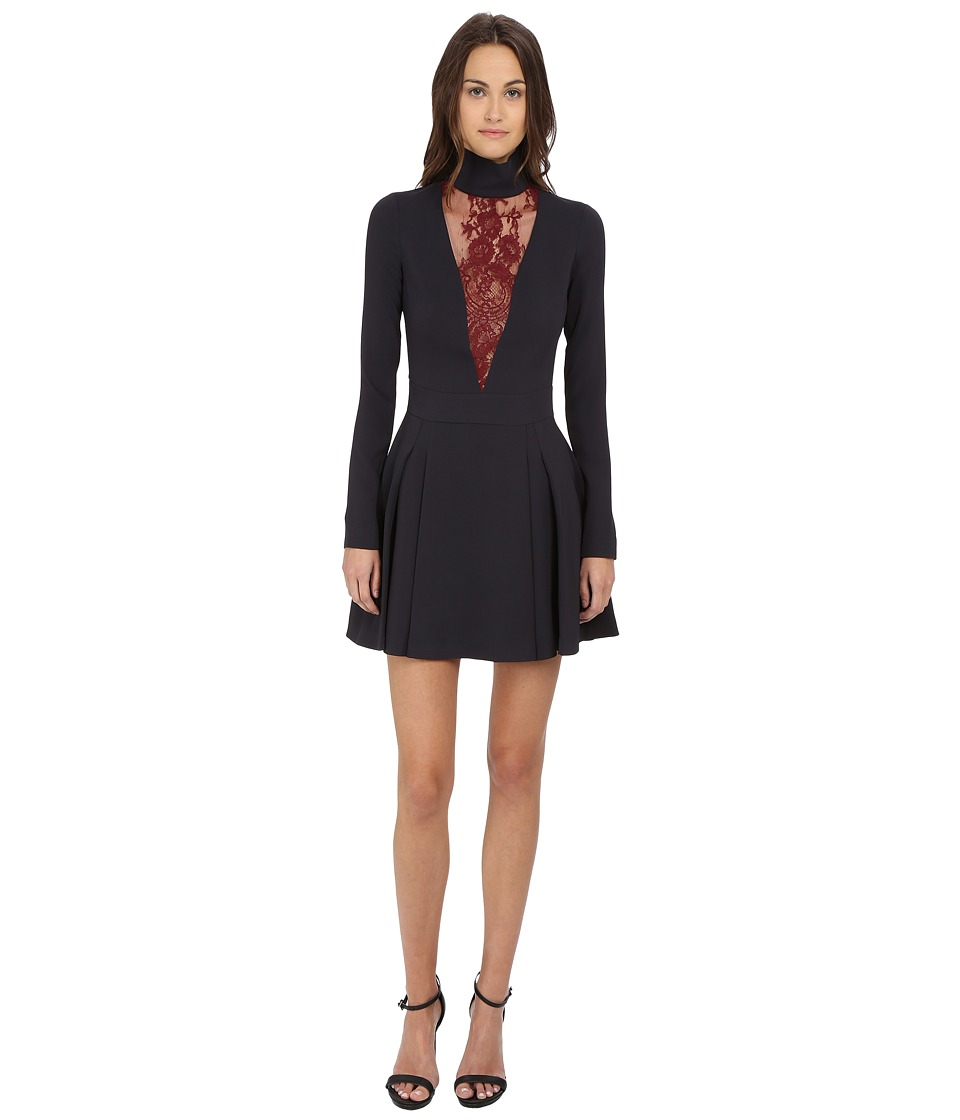Just Cavalli Woven Mock Neck Lace Inset Long Sleeve Dress (Grey) Women