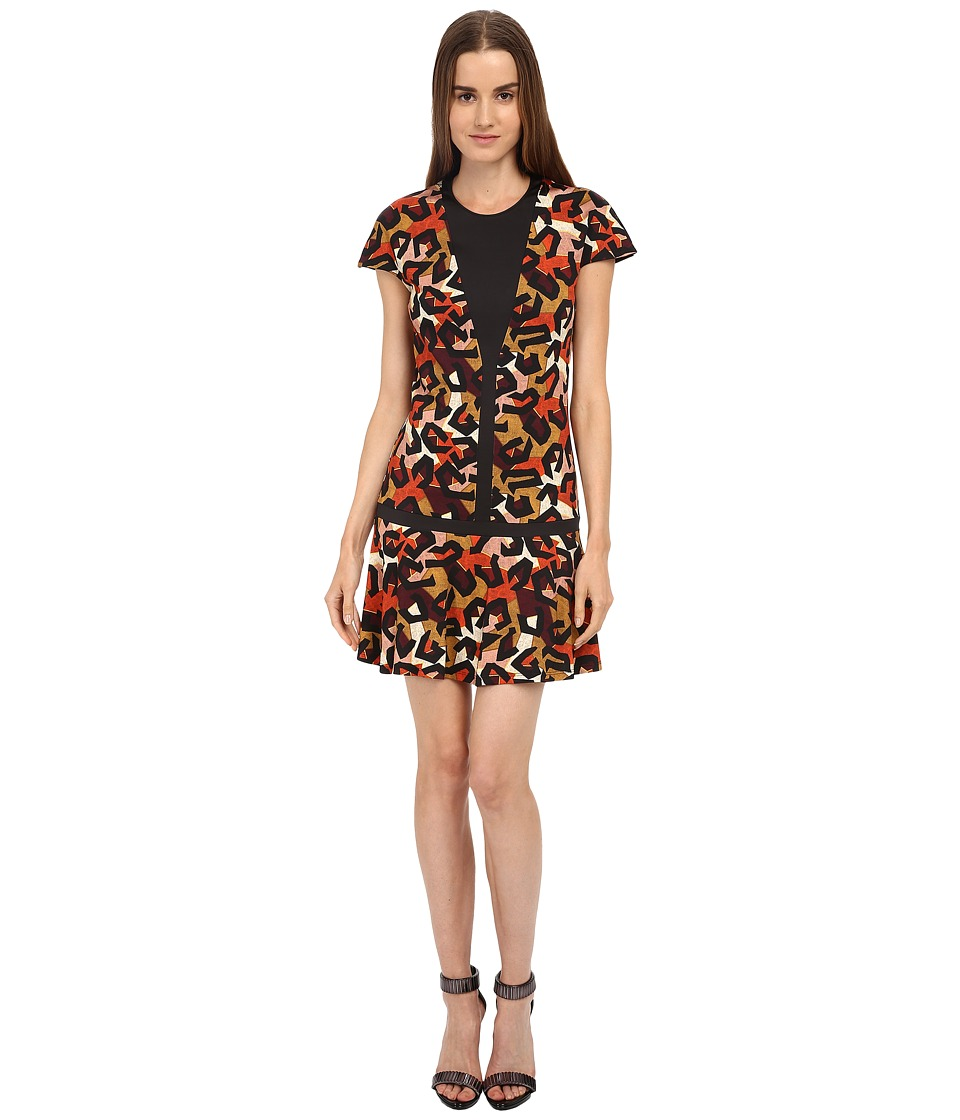 Just Cavalli - Jersey Charlotte Cheetah Print Cap Sleeve Dress (Cognac Variant) Women's Dress