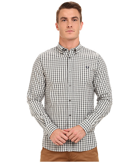 Fred Perry - Amplified Gingham Shirt (Steel Marl) Men's Long Sleeve Button Up