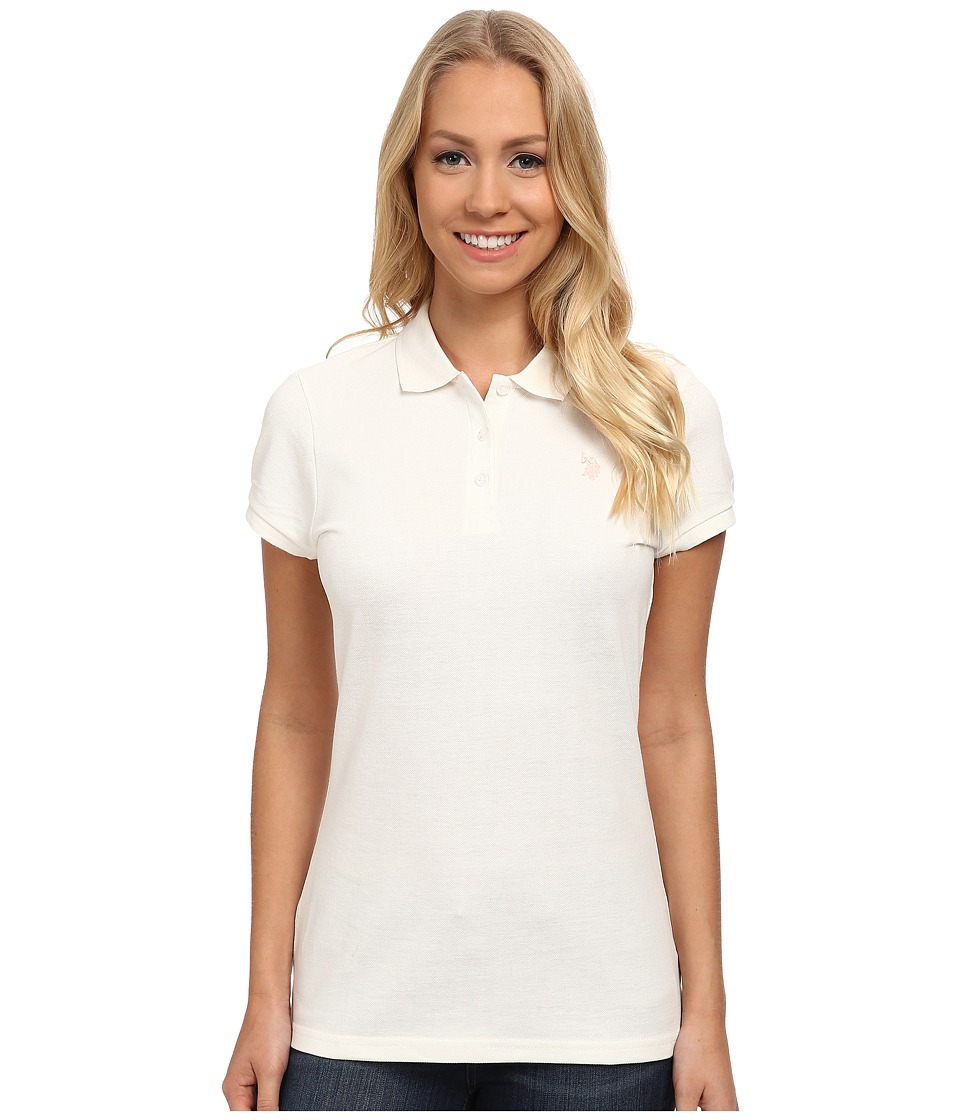 U.S. POLO ASSN. Solid Pique Polo (Marshmallow) Women