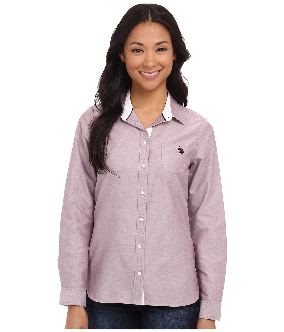 U.S. POLO ASSN. - Solid Oxford Shirt (Purple Potion) Women's Long Sleeve Button Up