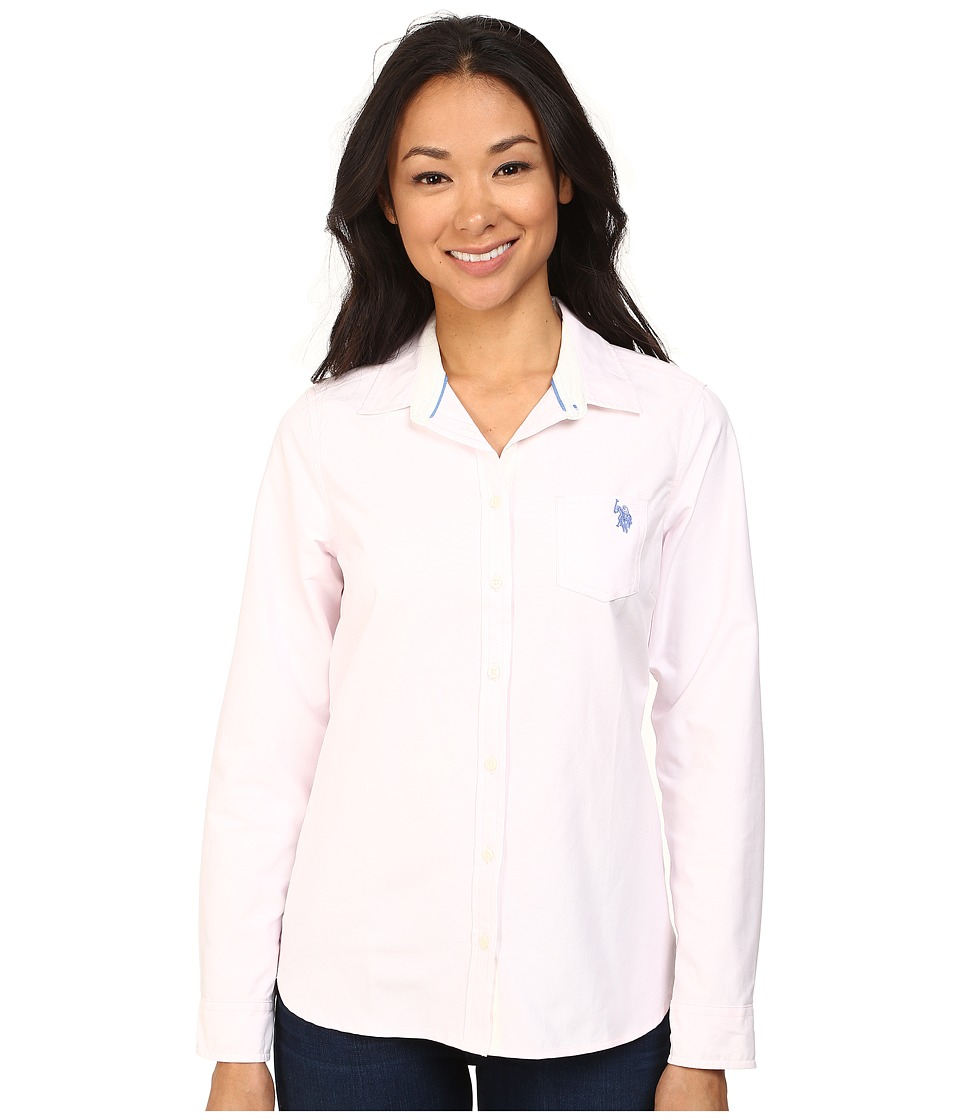 U.S. POLO ASSN. - Solid Oxford Shirt (Classic Pink) Women's Long Sleeve Button Up