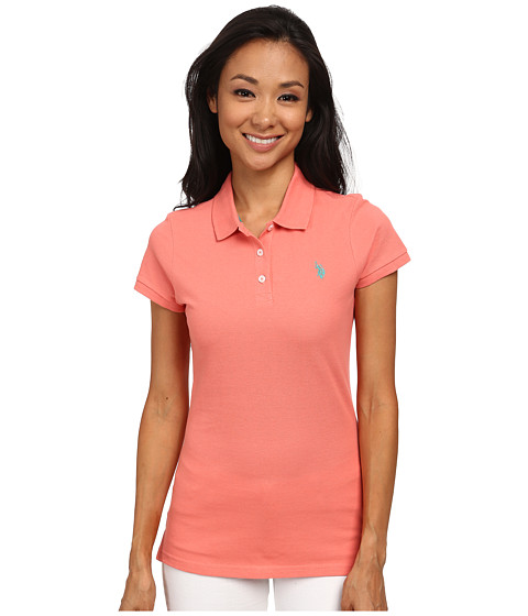 U.S. POLO ASSN. - Solid Pique Polo (Shell Pink) Women