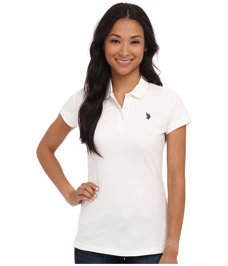 U.S. POLO ASSN. - Solid Pique Polo (White/Black) Women's Short Sleeve Knit