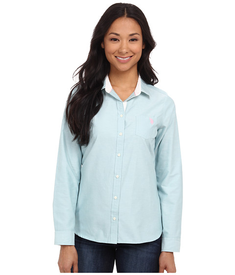 U.S. POLO ASSN. - Solid Oxford Shirt (Nile Blue) Women's Long Sleeve Button Up