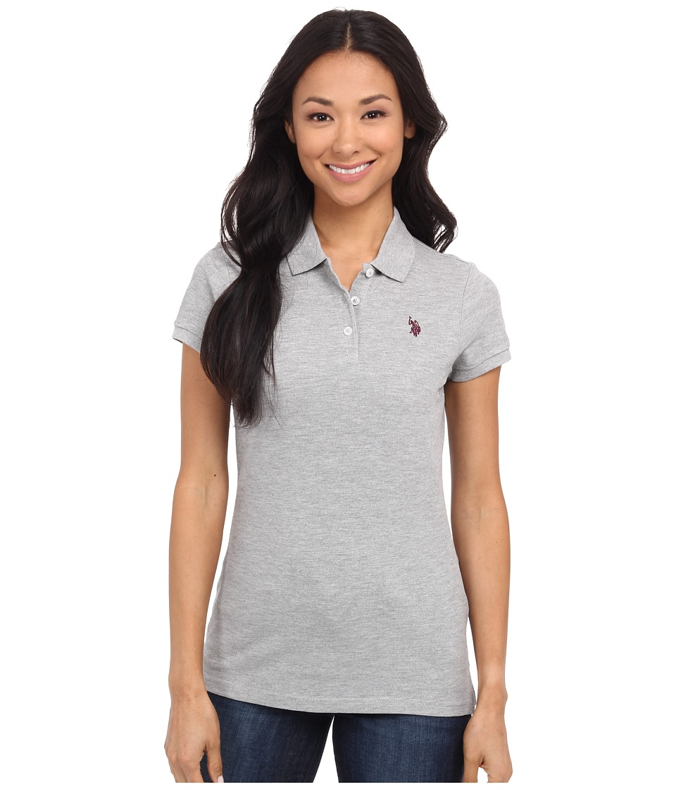 U.S. POLO ASSN. - Solid Pique Polo (Heather Potent Purple) Women's Short Sleeve Pullover