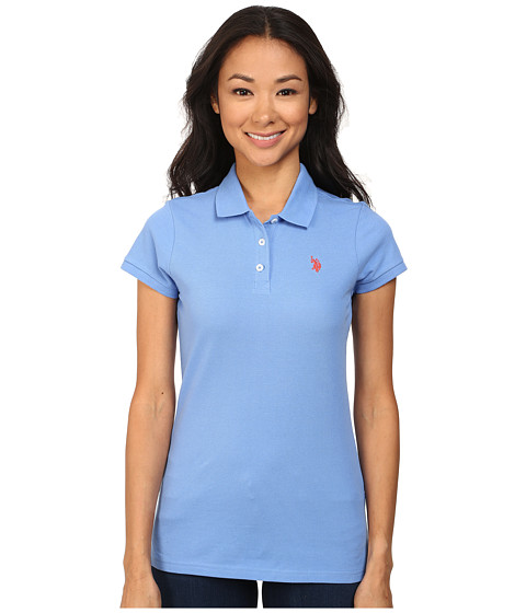 U.S. POLO ASSN. - Solid Pique Polo (Ultramarine Blue) Women's Short Sleeve Pullover