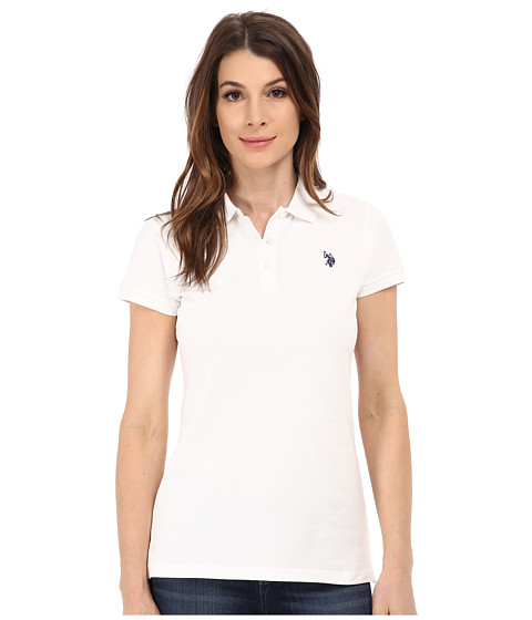 U.S. POLO ASSN. - Solid Pique Polo (Optic White) Women's Short Sleeve Pullover