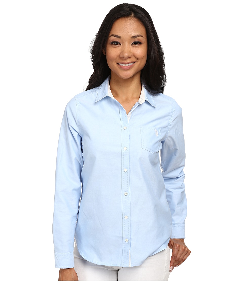 U.S. POLO ASSN. - Solid Oxford Shirt (Classic Blue) Women