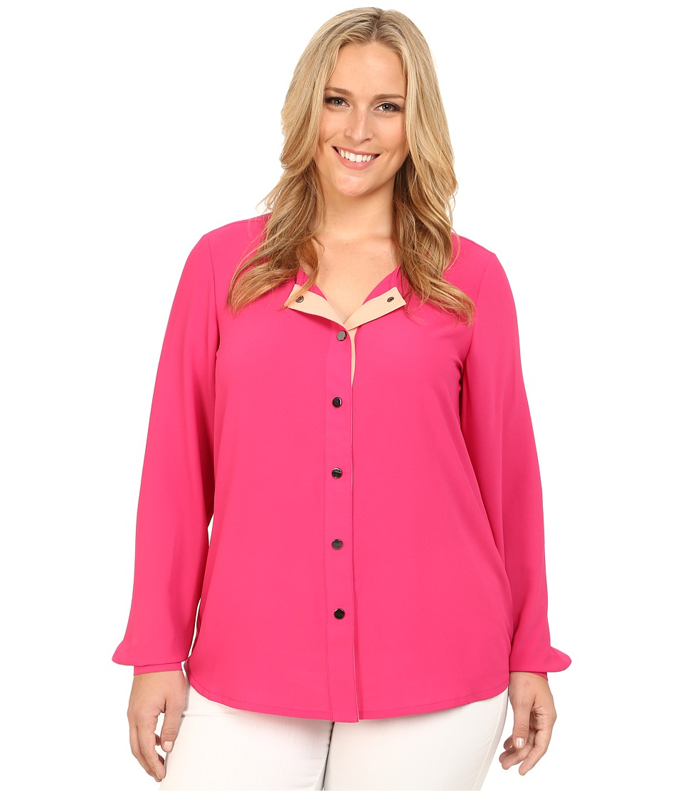 Mynt 1792 - Plus Size Color Block Blouse (Beetroot/Peach) Women's Blouse plus size,  plus size fashion plus size appare
