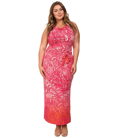 Mynt 1792 - Plus Size Cowl Neck Dress (Pink Gradiant Snake) Women's Dress