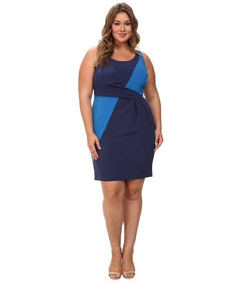 Mynt 1792 - Plus Size Box Pleat Sheath Dress (Patriot Blue/Skydiver) Women