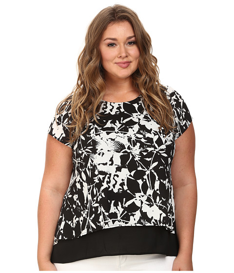 Mynt 1792 - Plus Size Crop Top (Flower Black/White) Women's Blouse