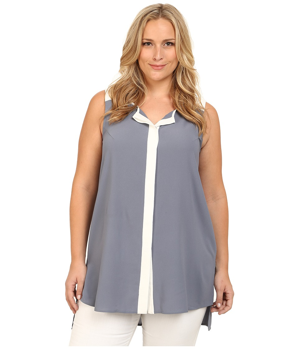 Mynt 1792 - Plus Size Color Block Tunic (Folkstone Gray) Women's Blouse plus size,  plus size fashion plus size appare