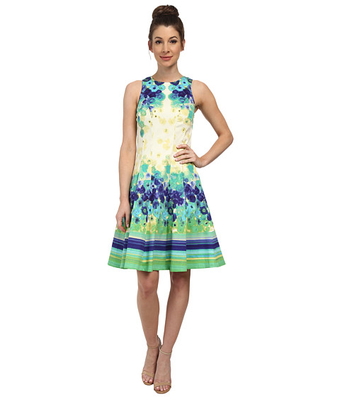 Maggy London - Primrose Placement Print Cotton Sateen Fit Flare (Lily/Blue) Women's Dress