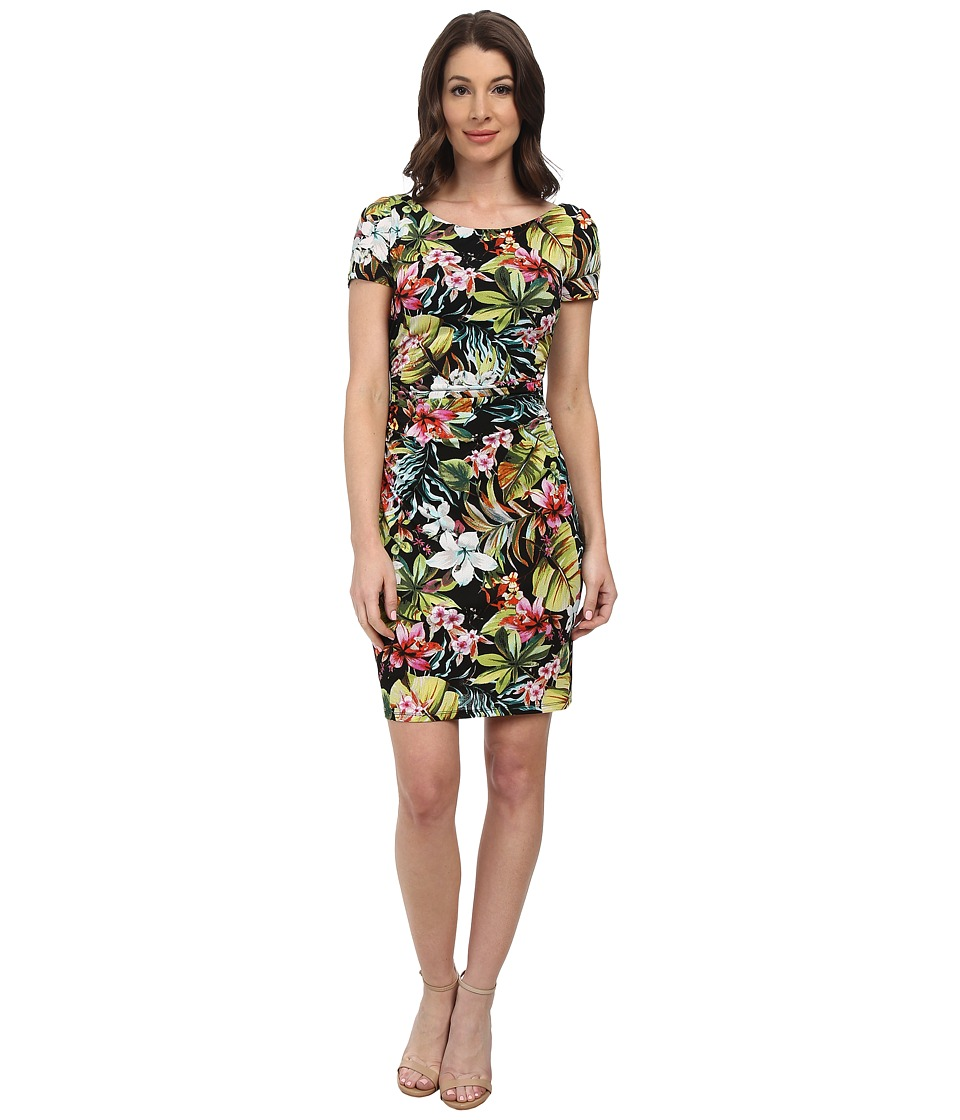 Maggy London - Tropical Night Printed Jersey Crepe Sheath (Soft White/Pink) Women