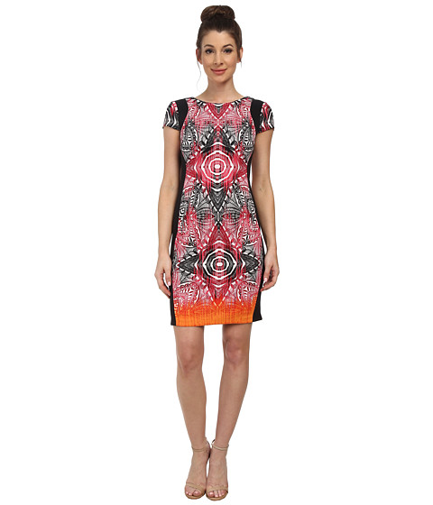 Maggy London - African Stencil Light Weight Scuba Sheath (Soft White/Sugar Pink) Women's Dress
