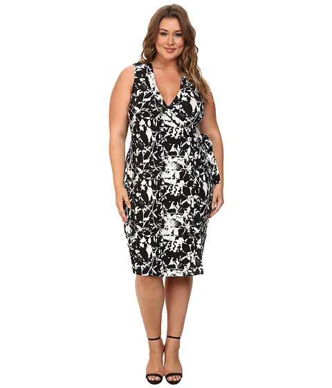Mynt 1792 - Plus Size Wrap Dress (Flower Black/White) Women