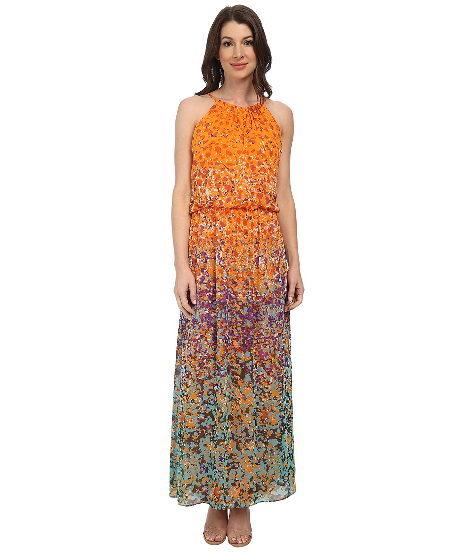 Maggy London - Painterly Spot Chiffon Blouson Maxi (Orange/Aqua) Women's Dress
