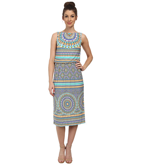 Maggy London - Tile Medallion Printed Jersey Midi (Soft White/Aqua) Women