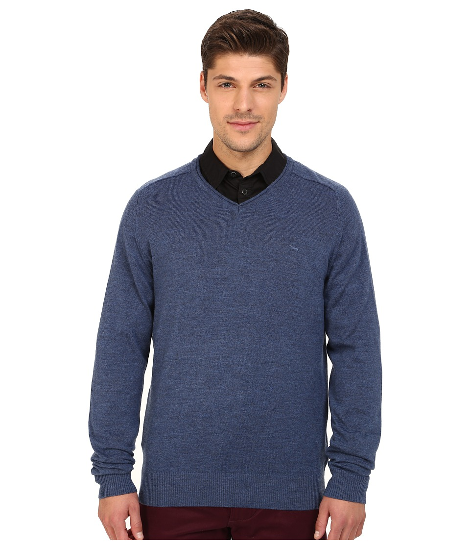Rodd & Gunn - Burwood Merino High V-Neck Merino Knit (Ocean) Men's Long Sleeve Pullover