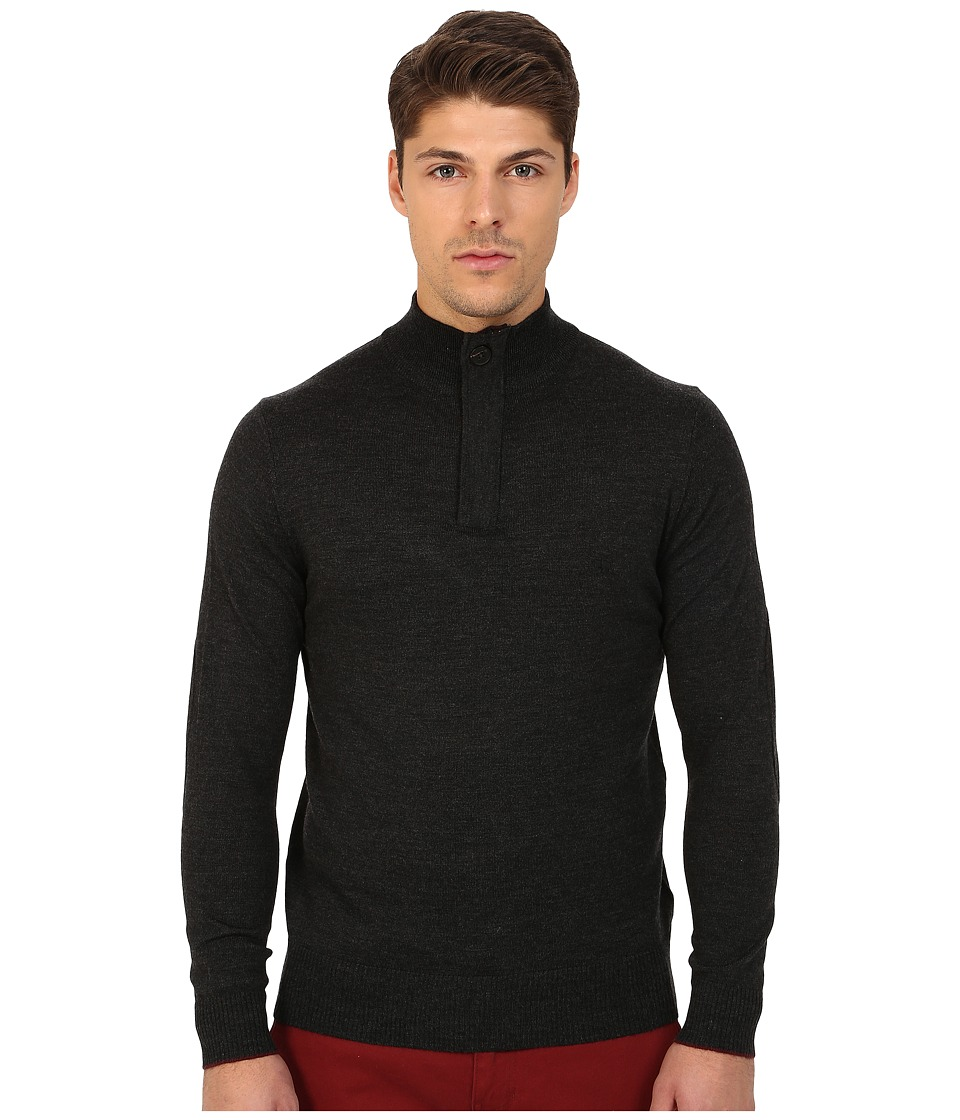 Rodd & Gunn Waverley 1/4 Zip-Button Merino Knit (Charcoal) Men