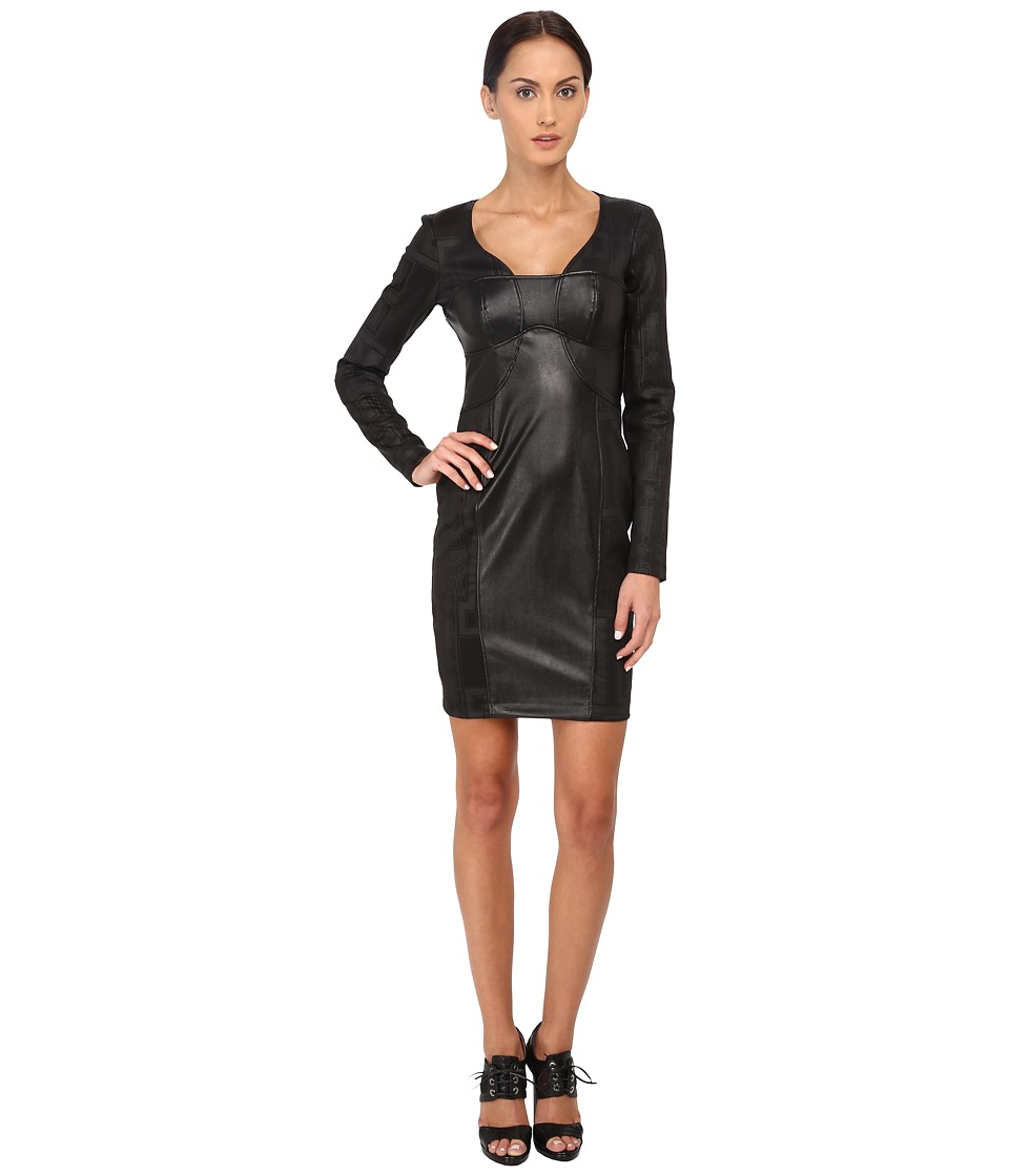 Versace Jeans - Long Sleeve V-Neck Cocktail Dress (Nero) Women's Dress